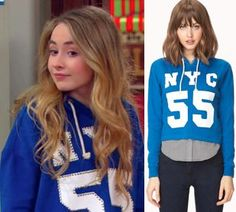 Maya Hart (Sabrina Carpenter) wears a Forever 21 Fresh NYC Cropped Hoodie in the color Royal in an upcoming episode of Girl Meets World Season *Note* The ...