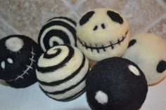Jack inspired, Felted Wool Balls - Dryer Balls, Toy set, ornaments, decor.  Eco Friendly and all natural. Skellington. via Etsy