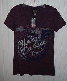 NWT HARLEY-DAVIDSON Women's size Small Short Sleeve V Neck T Shirt Las Vegas #HarleyDavidson #GraphicTee