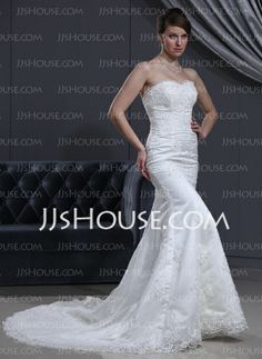 Wedding Dresses - $207.99 - Mermaid Sweetheart Chapel Train Satin  Lace Wedding Dresses With Lace  Beadwork (002000167) http://jjshouse.com/Mermaid-Sweetheart-Chapel-Train-Satin-Lace-Wedding-Dresses-With-Lace-Beadwork-002000167-g167