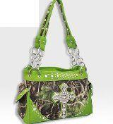 Lime Green Forest Print Camo Cross Handbag