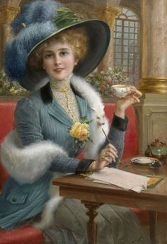 Emile Vernon (French, 1872 - 1919) This is what I think I look like when I take my notebook to Starbucks to drink lattes and write blog entries - somehow I don't think anyone else sees this though. (Lovely hat!)