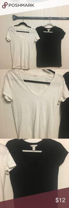 Basic tees Black and white v neck tees - white S jcrew and black M forever 21 J.Crew Factory Tops Tees - Short Sleeve