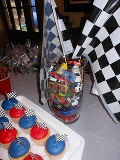 Like the centerpiece idea of the jar filled with matchbox cars!