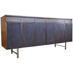 Paul McCobb for Calvin Walnut and Leather Front Credenza