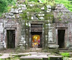 Wat Phou, Laos: We had to walk up a lot of steps to get to the top!