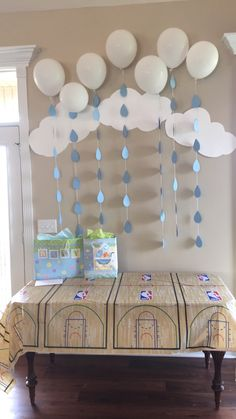 Baby shower clouds and rain drops
