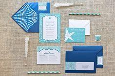STARFISH WEDDING INVITE - Turquoise and Cobalt Beach Wedding Invite. $50.00, via Etsy.