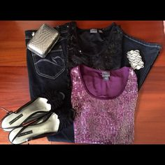 HP Best in Tops!! Two Sequin Tank Bundle Two identical Covington tanks, one plum with a flower print and one with black sequins in a v-shape. Sequins lie flat and are located on just the front. Worn once, in mint condition. Additional  pics and questions answered upon request. Covington Tops Tank Tops