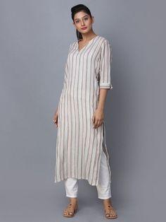 Buy Beige Striped Cotton Kurta online at Theloom