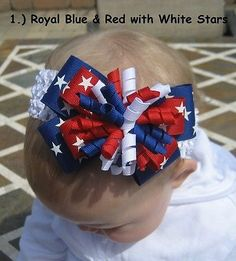 PATRIOTIC-USA-4th OF JULY ~U-PICK **ONE**~ Hair Bow Headband or CLIP or PONY