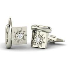 Telephone Cufflinks with Round SI Diamond | 0.5 carat Round SI Diamond  Cufflinks Cufflinks in 14k White Gold | Diamondere