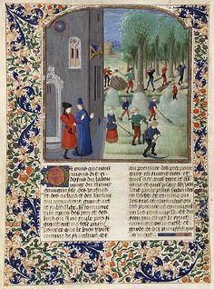 Pier de Crescenzi, Livre des prouffitz champestres et ruraulx, Flandre (Bruges), 3e quart du XVe siècle  Maître de Margueritte d'York et atelier  Parchemin, 42,5 x 32 cm  BnF, Arsenal, manuscrit 5064, fol.198v