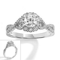 Simply Vera Vera Wang 14k White Gold 1-ct. T.W. Diamond Twist Frame Ring