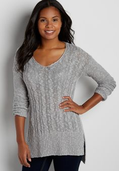 Maurices: $23.40 Size XL or XXL  cable knit pullover tunic sweater in gray