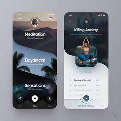 User Interface Design For Mobile Meditation App Web And App Design, Design Websites, Game Design, Application Ui Design, Interaktives Design, Flat Design, Design Shop, Design Urban, Best App Design