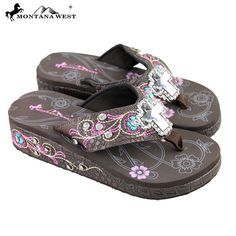 89c74afdcacad Montana West Embroidered Wedge Cross Flip Flops