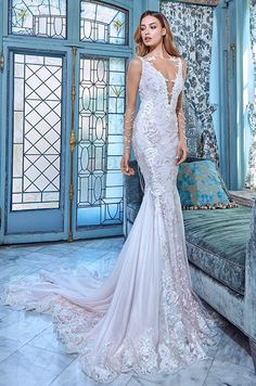 Mermaid wedding dress with deep-V neckline, low back and sheer illusion sleeves. Galia Lahav Le Secret Royal Couture Collection