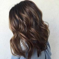 Chocolate Brown Balayage Long Bob Hairstyle