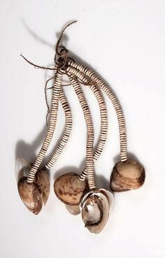 Amulet- Botswana   Pendant from the Kung Bushman from Western Ngamiland/Dobe   Shell, ostrich shell beads and cord
