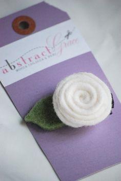 White Felt Rose $6.00