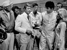 Elvis Presley, Carl Ballantine, Bill Bixby, and Nancy Sinatra in speedway
