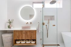 Gorgeous Pink Bathroom and Laundry Design Bad Inspiration, Bathroom Inspiration, Laundry In Bathroom, Small Bathroom, Blush Bathroom, Bathroom Tiling, Laundry Hamper, Bathroom Trends, Bathroom Renovations