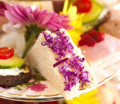 finely chopped purple cabbage on edge of tea sandwich - nice flourish