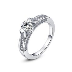 Cubic Zirconia Micro Pave Wedding Rings White Gold/Silver Color Channel Setting Engagement Jewelry For Women Anel Lover's Ring #Affiliate