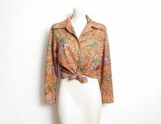 70s Novelty Print Shirt / Multicolored Floral & Geometric | Etsy Blouse Vintage, Vintage Shirts, Vintage Outfits, Green Print, Novelty Print, Boho Tops, Printed Shirts, Coat, Long Sleeve