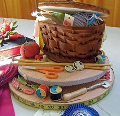 Cake with a sewing theme. This cake is so well thought out and perfectly executed