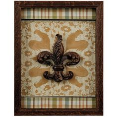 French Country Fleur-de-Lis Shadowbox ($13) ❤ liked on Polyvore featuring home, home decor, bronze home decor, fleur de lis home decor and rooster home decor