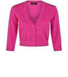 Bright Purple 3/4 Sleeve Cropped Cardigan | New Look