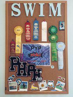 Cork board swim ribbon display :) Source by KaitlynneBeauty Award Ribbon Display, Award Display, Display Ideas, Ribbon Bulletin Boards, Ribbon Boards, Swim Ribbons, Kids Awards, Swim Team, Little People