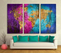 Abstract Wave Art World Map 3 Panel Split Triptych by CanvasQuest