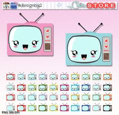 Kawaii Clipart Stickers - TV Show Retro clipart - Digital Graphics perfects for Planner Stickers - Dividers - Paperclips - Scrapbooking