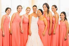 To die for coral bridesmaid dresses with matching flower girl dress. Love the over the shoulder strap on the floor length dress. Preppy Bridesmaids Dresses, Preppy Wedding Cakes, Lakeside Wedding, Bridal Gowns, Wedding Dresses, New York Wedding, Wedding Styles, Wedding Ideas, Elegant Wedding