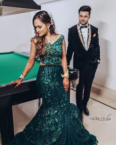 Indo-Western Dress Ideas For Brides To Rock Their Engagement Outfits Western Dresses, Western Outfits, Indian Dresses, Engagement Gowns, Cinderella Gowns, Stylish Dresses, Formal Dresses, Sangeet Outfit, Off Shoulder Gown