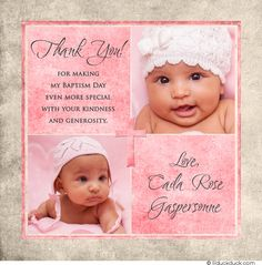 Pink & Ecru Custom Cross Baptism Thank You - sharing 1-2 photos of your daughter with custom wording & colors of your choice.