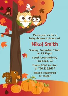 Owl - Fall Theme or Halloween - Baby Shower Invitations
