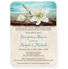 Beach Honeymoon Shower Invitations With A White Lily Starfish And Sand Dollar