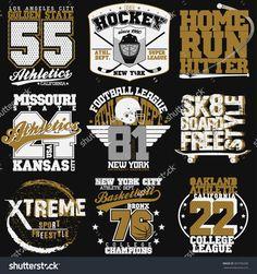 Sport Typography Graphics Emblem Set, T-Shirt Printing Design. Athletic Original Wear, Vintage Print For Sportswear Apparel Ilustración vectorial en stock 369706580 : Shutterstock