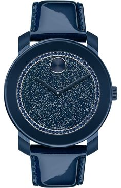 Women's Watches : Movado Bold Ladies Bold Navy Glitz Watch With Patent Leather Strap in Blue (Navy) Stylish Watches, Luxury Watches, Cool Watches, Cheap Watches, Casual Watches, Le Grand Bleu, Jewelry Accessories, Fashion Accessories, Mens Watches For Sale