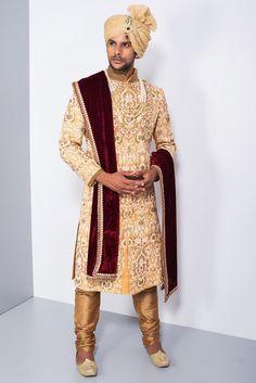 Indian wedding dresses for men groom wear sherwani indian groom dresses ind Best Indian Wedding Dresses, Wedding Dress Men, Wedding Suits, Wedding Men, Trendy Wedding, Indian Weddings, Wedding Vows, Wedding Photos, Sherwani Groom