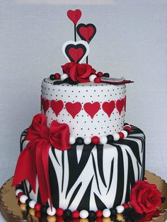 White, black and red cake