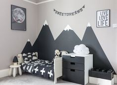 Looking to create a children's monochrome bedroom. Then check out how I created . Looking to create a children's monochrome bedroom. Then check out how I created this look in my son's bedroom, including painting mountains in his bedroom. Boys Bedroom Paint, Bedroom Small, Kids Room Paint, Dream Bedroom, Kids Bedroom Boys, Boy Toddler Bedroom, Child Room, Mountain Bedroom, Mountain Mural