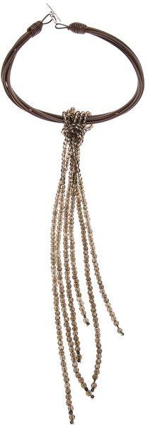 Brunello Cucinelli Brown Tassle Chain Necklace                              …