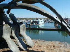 charter boat and condor sculpture