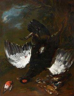 Tétras pendu par la patte entouré d'un rouge-gorge et d'un geai by Franz Werner von Tamm Franz, Global Art, Art Market, Past, Painting, Jay, Hamburg, Past Tense, Painting Art