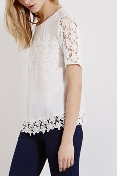 Tops | White Daisy Lace Stripe Top | Warehouse